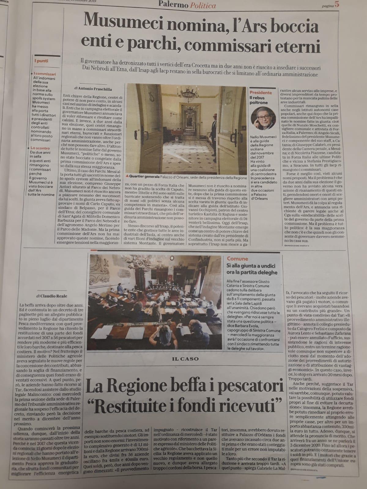 La Repubblica Ed. Palermo 18.10.2019